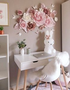 Paper Flowers Wall Decoration Nursery Floral Decor Nursery Wall Decor Large Paper Flowers Paper Flower Wall Paper Flowers Set is part of Paper flower wall decor Elegant set of paper flowers for - Paper Flower Decor, Large Paper Flowers, Flower Decorations, Diy Flowers, 3d Flower Wall Decor, Floral Flowers, Paper Flowers On Wall, Flower Ideas, Flower Art