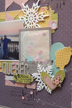 From Kesi-art blog  Inspiration - how cool is this 'Polaroid' sequin packet embellishment. You could re-use the velum packet from your kit with the sequins to create something like this.