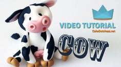 How to make a cute Cow Cake Topper - Cake Decorating Tutorial with Cake ...