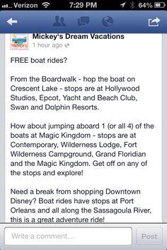 Free disney boat rides