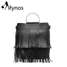 31.60$  Buy here - http://ali4vt.shopchina.info/go.php?t=32796947814 - Mynos Women Metal Ring Handle Tassel Composite Handbags Solid Color Tote Bag for Women Crossbody bag Fashion Top-handle bag Sac 31.60$ #aliexpressideas