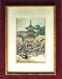 Japanese UKIYO-E Benji Asada Temple Wood Block Print Custom Framed Authenticated #UKIYOEWoodblockPrint