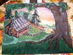 Cabin in the pines My Arts, Cabin, Painting, Cabins, Painting Art, Paintings, Cottage, Painted Canvas, Wooden Houses