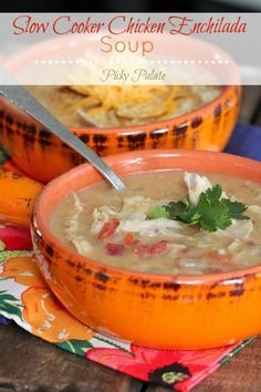 Slow Cooker Chicken Enchilada Soup via Picky Palate.  Perfect for game day and feeding a crowd.