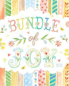 Bundle of Joy art print Nursery Decor Watercolor Wall Art