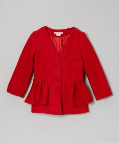Take a look at this Red Peplum Collarless Jacket - Toddler & Girls on zulily today!