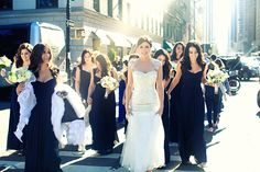 Chloe Melas and Brian Mazza New York City Wedding at Capitale  Dress, veil and bridesmaids dresses by Monique Lhuillier