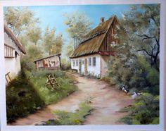 Útvégi ház 40x50 cm olaj/farost ENE