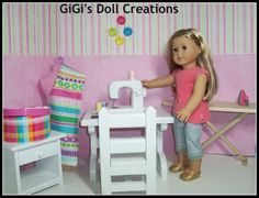 GiGi's Doll and Craft Creations: 18 inch doll Sewing Machine, Iron, Ironing board Tutorial American Girl House, American Girl Crafts, American Girls, Ag Doll Crafts, Diy Doll, Sewing Crafts, Diy Crafts, Sewing Doll Clothes, Sewing Dolls