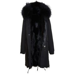 MR & MRS ITALY Long Fox Fur Lined Parka ($6,240) ❤ liked on Polyvore featuring outerwear, coats, fox fur coat, army parka, black army coat, parka coat and long parka coat