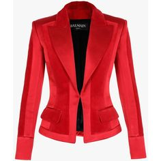 Balmain Cotton velvet blazer ($2,995) ❤ liked on Polyvore featuring outerwear, jackets, blazers, coats & jackets, slim jacket, red blazer, velvet jacket, balmain and velvet blazer