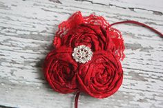 Christmas Berry- red on red triple rosette with lace headband