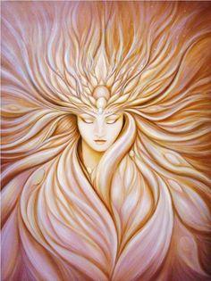 """Goddess of Transformation"" Painting by Jen Lester, Visionary Art Art Magique, Goddess Art, Moon Goddess, Divine Goddess, Sacred Feminine, Visionary Art, Angel Art, Gods And Goddesses, Mother Earth"