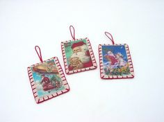 3 Mini Chirstmas Santa Vintage Postcard Image Ornaments by maryimp, $12.00