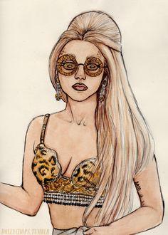 ♡ On Pinterest @ kitkatlovekesha ♡ ♡ Pin: Art ~ Lady Gaga Drawing (By Helen Green) ♡