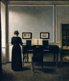 "Vilhelm Hammershoi, ""Interior With Piano and Woman in Black,"" 1916."