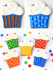 How to make cute cupcake cookies. Great tutorial by LilaLoa.