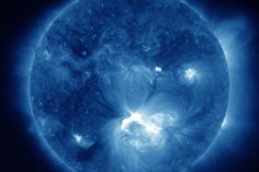 An X1.4 class flare peaked at July 12, 2012 at 12:52 PM EDT.   CREDIT: NASA/SDO/AIA