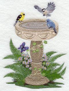 Summer Birdbath Embroidered Terry Kitchen by forgetmeknottreasure.etsy.com