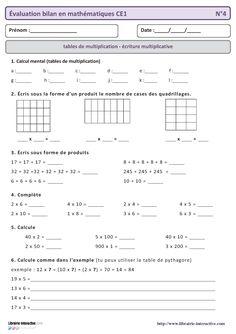 16 évaluations mathématiques à utiliser toute l'année en CE1 (numération, grandeur et mesure, géométrie, techniques opératoires et gestion de données) .
