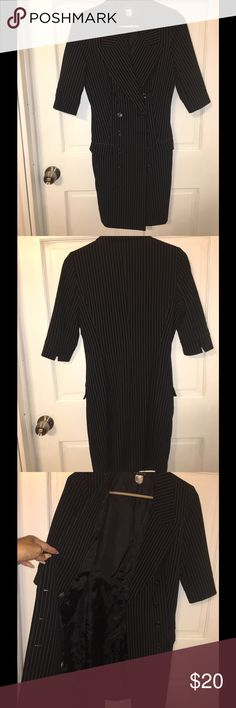Double Breasted Dress Black dress with white pinstripes. Worn once. Sexy fit. Venus Dresses Midi