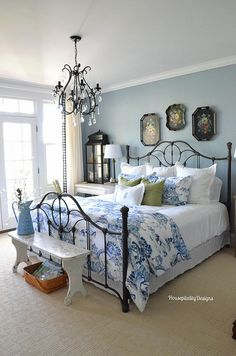 Neutral Farmhouse Master Bedroom Makeover Before After . Home Tour Saw Nail And Paint. Ideas For Organizing Refreshing Your Bedroom For Spring . Home and Family Shabby Chic Bedrooms, Guest Bedrooms, Cottage Bedrooms, Woman Bedroom, Dream Bedroom, Ladies Bedroom, French Country Bedrooms, Country Bedroom Blue, Farmhouse Master Bedroom