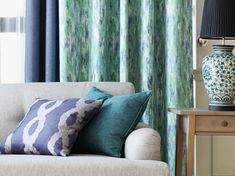 ชวนจัดบ้านต้อนรับปีใหม่ เพื่อการเริ่มต้นที่สดใส - VC Fabric   VC Fabric Greenery Pantone, Curtain Styles, Curtains, Throw Pillows, Bed, Fabric, Home, Tejido, Blinds