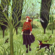 """*Dee Nickerson, English artist, b. """"The Stick"""" Art And Illustration, Fantasy Kunst, Fantasy Art, Visual And Performing Arts, Ink In Water, Naive Art, Office Art, Dog Art, Female Art"""