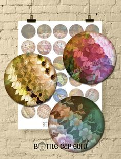 Fantasy Floral Fabric Inch Circles / Printable Abstract Digital Collage Sheet / Colorful Round I Bottle Cap Art, Bottle Cap Images, Birthday Cards For Him, Funny Greeting Cards, Abstract Images, Floral Fabric, Digital Collage, Collage Sheet, Circles