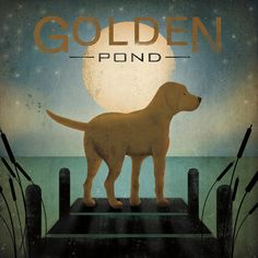 Moonrise Yellow Dog - Golden Pond Posters by Ryan Fowler at AllPosters.com