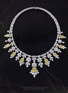 elie chatila jewelry - Yellow and White Diamond Necklace