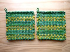 Green and Yellow Check Stripes Woven Cotton Loop Loom Potholder Vintage Colorful Kitchen Farmhouse Style John Deere. $8.00, via Etsy.