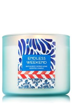 """Endless Weekend - 3-Wick Candle - Bath & Body Works - The Perfect 3-Wick Candle! Made using the highest concentration of fragrance oils, an exclusive blend of vegetable wax and wicks that won't burn out, our candles melt consistently & evenly, radiating enough fragrance to fill an entire room.�Plus, beautiful frosted glass adds cool coastal style to your d�cor!�Burns approximately 25 - 45 hours and measures 4"""" wide x 3 1/2"""" tall."""
