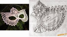 Crochet mask diagram - will do it one day (hopefully) Filet Crochet, Blog Crochet, Crochet Diy, Crochet Motifs, Crochet Woman, Crochet Gifts, Irish Crochet, Crochet Doilies, Crochet Hooks