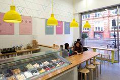 Fresco Freddo's Gelateria Cafe Interior Design, Cafe Design, Store Design, Fresco, Restaurant Design, Restaurant Bar, Waffle Shop, Gelato Shop, Ice Cream Design