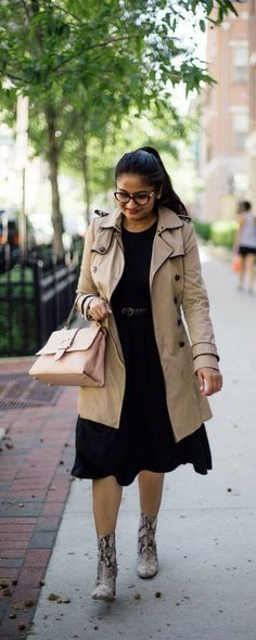 Tips to Look Ladylike with an Edge   dreamingloud.com  -------------------------------------- lbd, snake print boots, piped trench coat, fall style, spring outfit idea, henri bendel riverside satchel, madewell bandana, ottica eye glasses, Cecile boots, black fit and flare dress