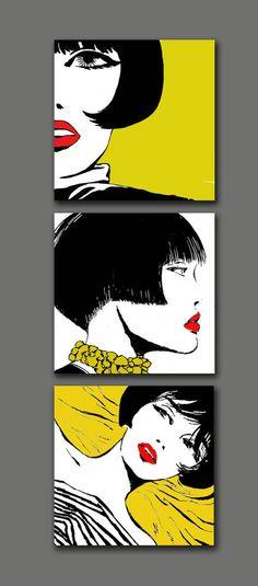 Quadro VALENTINA Tris Dipinto a mano moderno tela arredo pop art canvas