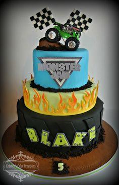Birthday/Specialty Cake Gallery - Kristen's Cake Creations - Monster Jam 3 tiered cake, fondant