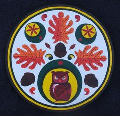 Owl and Oak Librarians Hex - Knowledge  Wisdom Symbols Used 3 red  orange oak leaves - endurance to pursue path of wisdom 3 brown acorns - providing guidance to the young  ignorant red rosettes - confidence in ones self red owl - keeper of wisdom; and ancient knowledge 3 outer bands - nurturing ideas, thoughts  creativity color brown - mother earth, nurturing forces color yellow - sun, spreading light color green - growth, new ideas  progress