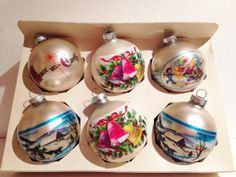 Vintage Glass Coby Christmas Tree Ornaments 1970s by BuckysFinds, $27.00