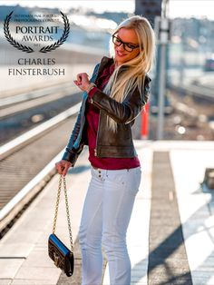 Beautiful blonde waiting on the train Toys Photography, Portrait Photography, Cover Model, White Jeans, Awards, Waiting, Portraits, Train, Lifestyle