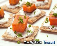 This must-serve appetizer is sure to be a hit at your Big Game football party! Peel and chop sweet potatoes into cubes, then stir in a bowl with melted coconut oil and salt to cover. Spread on a baking pan and roast in oven for 1 hour at 350°F. Layer a dollop of sour cream, one sweet potato cube per TRISCUIT cracker, and finish with a sprinkle of chives. Dee-lish!