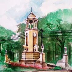 Di Jalan Supratman Bandung, (pertigaan Jl Brigjen Katamso) tengah dibangun elemen estetis kota yang baru. Saya tak tahu persis apakah ini monumen, sekadar tugu penunjuk waktu (ada jam nya) atau yg lainnya. Baguslah...dan sepertinya tinggal diisi elemen vegetatif (taman) Cuma saat menggambar, saya pilih sudut pandang terbaik. Ini bagian belakang samping, karena kalau bagian depan terhalang kabel telepon pasulantreng#art #drawings #drawing #watercolor #sketch #urbansketch #sketchwalker Pisa, Big Ben, Statue Of Liberty, Tower, Watercolor, Building, Travel, Random, Instagram