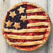 Strawberry-rhubarb flag pie with blueberry accent. This country's independence is worth a show-stopping dessert, and we think this pie is it. Bursting with summer flavors — strawberry and rhubarb — and decorated to honor the Stars and Stripes, this pie will guarantee that you'll have no trouble competing with fireworks this year!