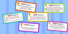 These VCOP games and activities are a fantastic way to get the children thinking and looking at words and sentences, and are a fun way to get the children involved and interested in the English language! Education And Literacy, Literacy Activities, Teaching Resources, Teaching Ideas, Writing Lessons, Writing Prompts, Writing Ideas, Reading Words, Teachers Aide