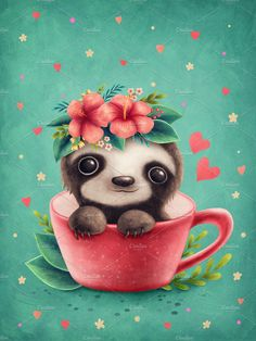 Small cute sloth in a teacup by Elena Schweitzer Cute Baby Sloths, Cute Baby Animals, Cute Sloth Pictures, Wallpaper Kawaii, Sloth Tattoo, Cute Christmas Wallpaper, Cute Cartoon Drawings, My Spirit Animal, Cute Cartoon Wallpapers