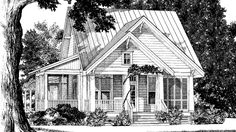 Southern Living House Plan Easton Way by Benjamin Showalter. Three bedrooms and a bunk room. Cottage Floor Plans, Cottage House Plans, Cottage Homes, House Floor Plans, House Plans One Story, Best House Plans, Small House Plans, Southern Living House Plans, Country House Plans