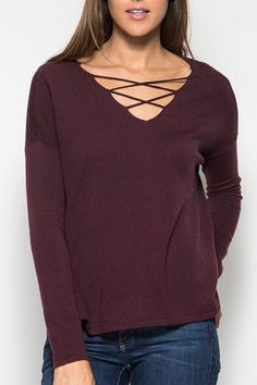 Long Sleeve Sweater with Criss Cross Detailing