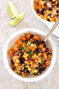 Roasted Sweet Potato Black Bean Quinoa Salad Recipe - Healthy and filling quinoa salad with cumin roasted sweet potatoes and quick oil and lime vinaigrette. Perfect as a side dish or a healthy lunch! == CLICK THROUGH TO SEE! Sweet Potato Quinoa Salad, Quinoa Salad Recipes, Vegetarian Recipes, Healthy Recipes, Quinoa Bowl, Sweet Potato Meals, Quinoa Bean Salad, Vegan Recipes With Sweet Potatoes, Healthy Black Bean Recipes