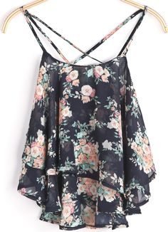 To find out about the Black Spaghetti Strap Floral Chiffon Cami Top at SHEIN, part of our latest Tank Tops & Camis ready to shop online today! Chiffon Cami Tops, Chiffon Floral, Chiffon Shirt, Floral Print Shirt, Print Tank, Floral Shirts, Look Fashion, Womens Fashion, Black Spaghetti